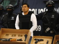 "Jesus Enrique Rejon Aguilar, aka ""El Mamito"", alleged number three leader of the ""Los Zetas"" drug cartel, is presented to the press on Monday."