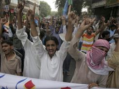 Supporters of Pakistan's largest Islamic party, Jamaat-e-Islami, chant slogans during a rally to condemn a meeting by the U.S. Embassy supporting gay rights in Karachi, Pakistan, on Monday,