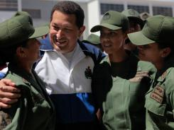 An ailing Chavez appeared live on television Thursday, meeting with cadets and other soldiers. Officials say Chavez is in delicate condition after undergoing surgery to remove a cancerous tumor.