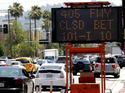 Approximately 150 message signs have been activated and placed around Los Angeles County in preparation for the 405 closure during road construction this weekend.