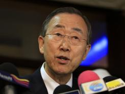 U.N. Secretary-General Ban Ki Moon speaks during a press conference upon his arrival at Khartoum airport on July 8. a day before South Sudan secedes from the north and becomes the world's newest nation.