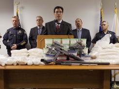 Drug Enforcement Agency assistant special agent Paul Rozario speaks during a news conference Thursday announcing the state's largest methamphetamine bust.