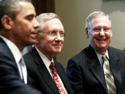President Obama, Senate Majority Leader Harry Reid and Senate Minority Leader Mitch McConnell at the White House on Wednesday.