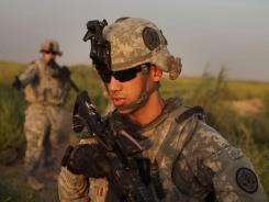1st Lt. Johnathan Crane of Sugar Land, Texas, with the 3rd Armored Cavalry Regiment, on recent patrol in Iraq.
