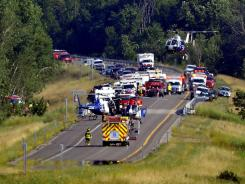 Bus wreckage in Cohocton, N.Y., where a crash killed two people.