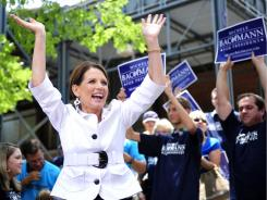 Republican presidential candidate Rep. Michele Bachmann, R-Minn.,  acknowledges the crowd before a political rally Tuesday in Aiken, S.C.