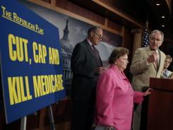 Senate Democrats Charles Schumer of New York, from left, Barbara Mikulski of Maryland, Tom Harkin of Iowa and Barbara Boxer of California make their views known Wednesday.