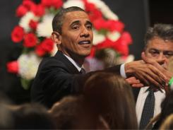 President Obama greets supporters last month in Miami. He has outraised rivals in 36 states and the District of Columbia.