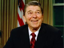 President Ronald Reagan  after delivering a speech on television in this 1987 photo.