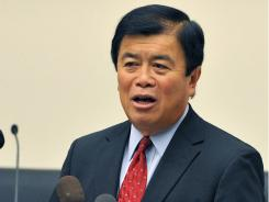 Rep. David Wu, the first Chinese-American elected to Congress, speaks during a press conference  in 2010.