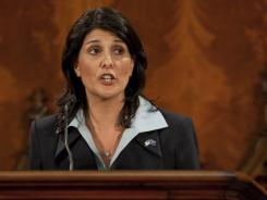 Gov. Nikki Haley delivers her first State of the State address at the South Carolina Statehouse in Columbia, S.C., on Jan. 19.