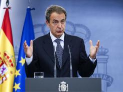 Spain's Prime Minister Jose Luis Rodriguez Zapatero speaks during a press conference at the Moncloa Palace in Madrid Friday.