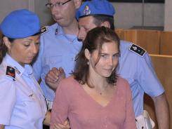 American student Amanda Knox arrives for a hearing of her appeals murder trial, in Perugia, Italy, Saturday, July 30, 2011.