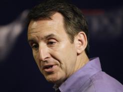 Republican presidential candidate, former Minnesota Gov, Tim Pawlenty speaks to local residents at a Pizza Ranch restaurant,  in Story City, Iowa, on Wednesday.