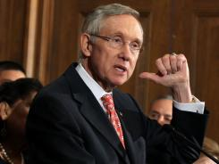 Senate Majority Leader Sen. Harry Reid speaks during a news conference Saturday in Washington, D.C.