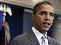 President Barack Obama speaks from the White House briefing room Sunday about a deal being reached to raise the debt limit.