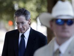 Day in court:  Warren Jeffs arrives at the courthouse in San Angelo, Texas, where he is on trial for sexual assault