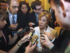 Sen. Barbara Boxer, D- Calif., takes questions on the FAA, Tuesday.