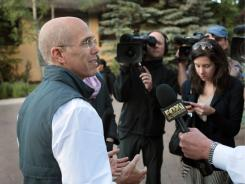 DreamWorks CEO Jeffrey Katzenberg, seen here at a conference in Sun Valley, Idaho, on July 7, gave $2 million in May to Priorities USA Action, a group run by former Obama aides.