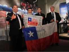 Miners Mario Sepulveda, from left, Jorge Galleguillos, Carlos Barrios and Jose Henriquez on D.C. tour.