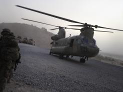 A U.S. military Chinook helicopter lands at Forward Operating Base in Afghanistan on July 29.
