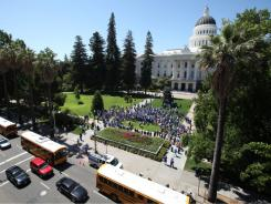 The state Capitol in Sacramento during a 2009 protest. California has one of the lowest credit ratings among states.