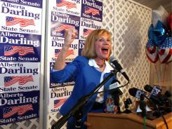GOP state Sen. Alberta Darling of River Hills speaks to supporters at her recall election results party in Thiensville, Wis., on Tuesday.