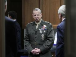 Marine Gen. John Allen, pictured in June, said Wednesday that insurgents who attacked a helicopter had been killed.