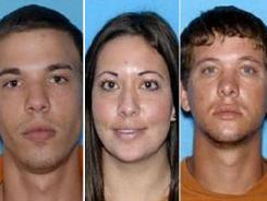 Ryan Edward Dougherty, 21, left, Lee Grace Dougherty, 29, and Dylan Dougherty Stanley, 26, were captured in Colorado on Wednesday.