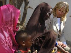 Refugee camp: Jill Biden visits Somalian refugees Monday.