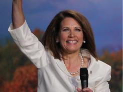 Republican presidential candidate Michele Bachmann speaks at the Iowa Straw Poll in Ames on Saturday.