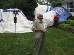 Lillian Bernhagen talks about being shocked that a blimp broke free of its moorings at an airport and landed in her backyard on Sunday in Worthington, Ohio.