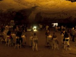 Israelis participate in a speed dating event on the eve of Tu Be'Av, the Jewish holiday of love, in Zedekiah's Cave under Jerusalem's Old City.