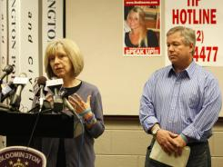 Charlene, left, and Robert Spierer ask anyone with information on their daughter Lauren to come forward during a press conference in Bloomington on June 20.