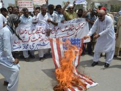 Demonstrators in Pakistan protest a U.S. drone strike earlier this month that killed members of the insurgent Haqqani network.