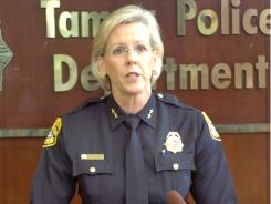 Tampa Police Chief Jane Castor speaks of a variety of charges against Jared Cano, including possession of bomb making materials, in Tampa on Wednesday.