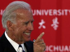 Vice President Biden gestures as he answers a question from an audience member at Sichuan University in Chengdu in southwestern China's Sichuan province on Sunday.