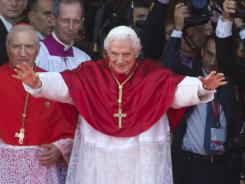 Pope Benedict XVI arrives at the Almudena Cathedral to celebrate a Mass for seminarians on Saturday in Madrid.