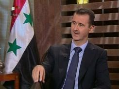 In this image from a Syrian state television interview broadcast Sunday, President Bashar Assad says his security forces are making gains against a 5-month-old uprising and says his government is in no danger of falling.