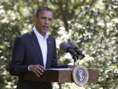 President Obama speaks Monday in Chilmark, Mass., about the conflict in Libya.
