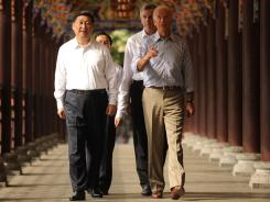 Chinese Vice President Xi Jinping and Vice President Biden in Sichuan province last weekend.