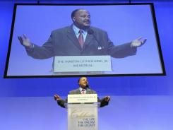 Martin Lither King III speaks at a Martin Luther King Jr. memorial luncheon at the Washington Convention Center on Thursday.