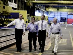 President Obama tours the Alcoa Davenport Works Factory in late June with company and union officials.