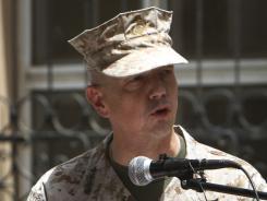 The top U.S. commander in Afghanistan, Marine Gen. John Allen, speaks in  Kabul in July.