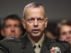 Marine Gen. John Allen testifies during his confirmation hearing in June.