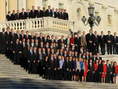 Newly elected freshman members of the 112th Congress, at the Capitol in November for orientation before taking office.