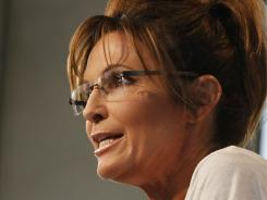 Former Alaska governor Sarah Palin is interviewed by Sean Hannity of FOX News at the Iowa State Fair in Des Moines on Aug. 12.