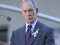 New York City Mayor Michael Bloomberg listens to the reading of the names of 9/11 victims during the annual memorial service Sept. 11, 2010, at Ground Zero.