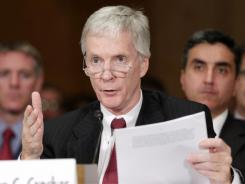 U.S. ambassador to Afghanistan Ryan Crocker testifies on Capitol Hill earlier this year.