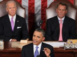 President Obama, flanked by Vice President Biden and Speaker Boehner,  addresses a Joint Session of Congress at the U.S. Capitol.